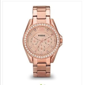 Fossil Riley chronograph rose gold watch